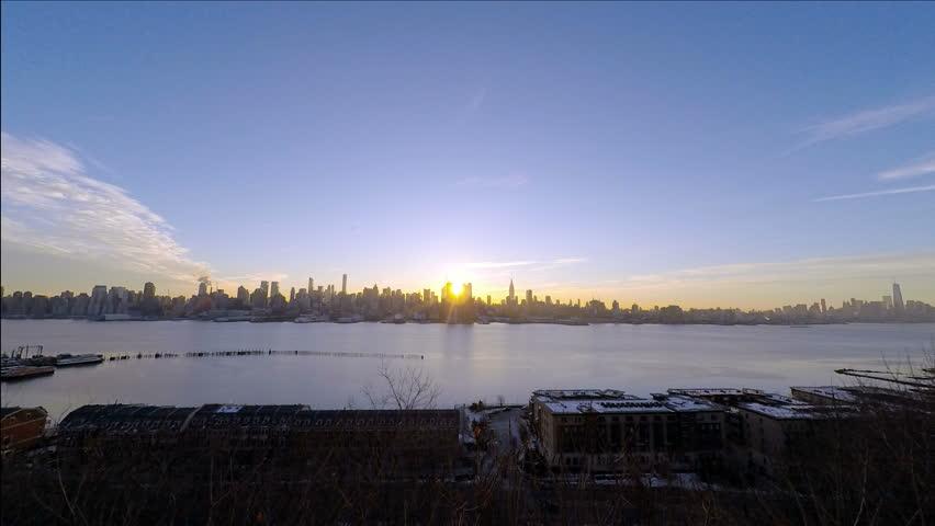 Spectacular New York Sunrise over Hudson River Panoramic 4k